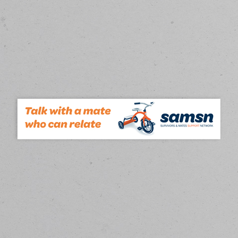 Rectangular sticker measuring 250mm by 50mm with SAMSN trike and wording, talk with a mate who can relate
