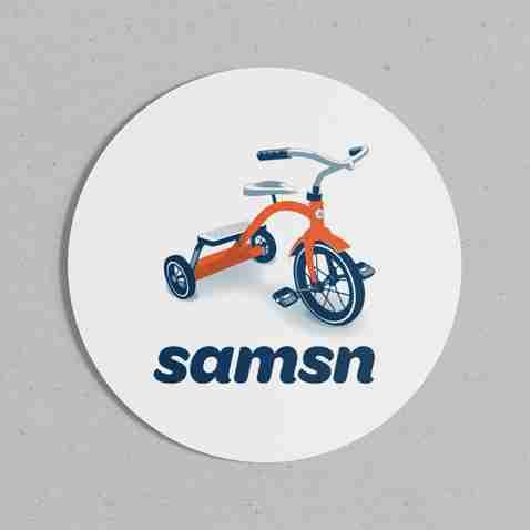 SAMSN sticker with trike logo on 60 mm round circle
