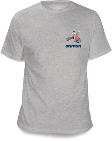 Two tees: white or grey 100% Cotton T-shirts with trike & SAMSN logo on upper left side