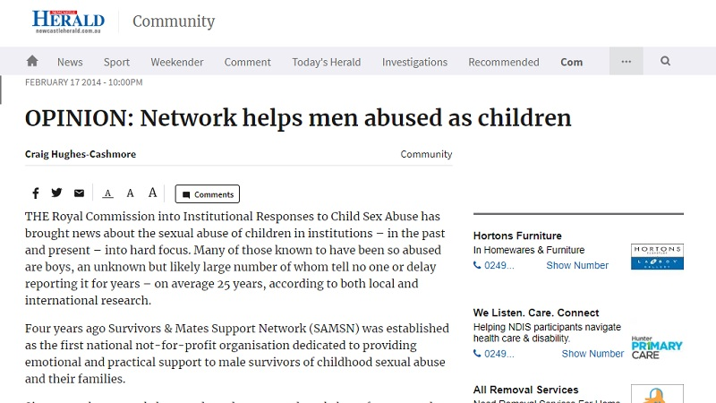 Network helps men abused as children