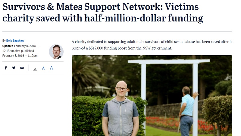 Survivors & Mates Support Network saved with half-million-dollar funding